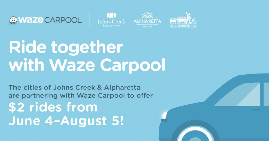 Johns Creek and Alpharetta bring Waze Carpool to local residents and employers