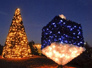 Christmas Tree and Dreidel Display Lighting set for Dec. 5